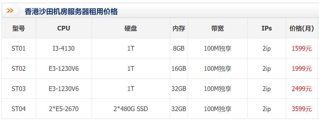 沙田机房100M独享香港服务器租用价格表