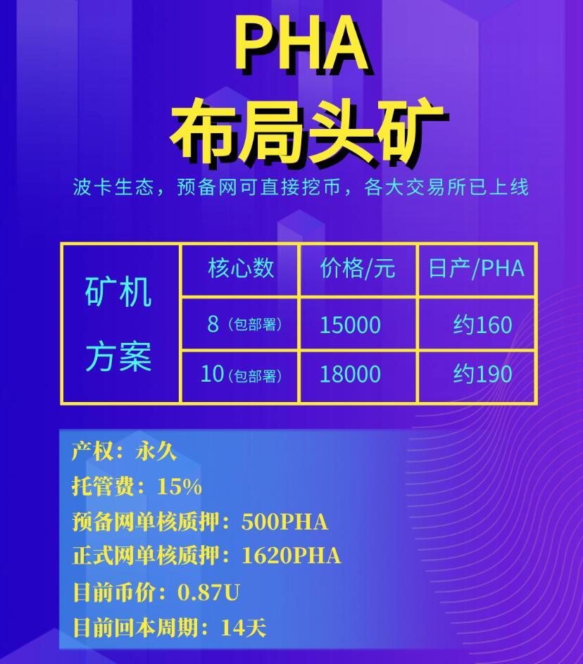 PHA矿机服务器多少钱,PHA挖矿回本需要多久?